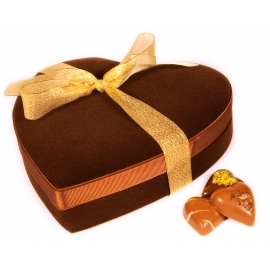 Heart-shaped velvet chocolate box