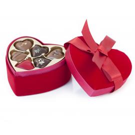 Heart-shaped velvet chocolate box