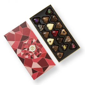 Luxurious box of heart-shaped chocolates