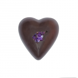 Heart dark with violet ganache