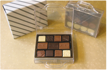 box of pralines, customised with company logo
