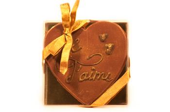 Coeur personnalisable en chocolat fondant doré